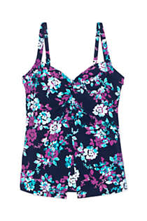 Women's Shaping Underwire V-neck Tankini Top with Tummy Control, Front