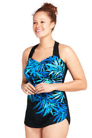 Women's Plus Size G-Cup Slender Tunic One Piece Swimsuit with Tummy Control