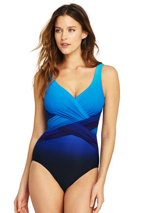 Women's Slender Wrap One Piece Swimsuit with Tummy Control