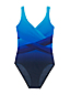 Women's Plus Slender Wrap Front Ombre Swimsuit