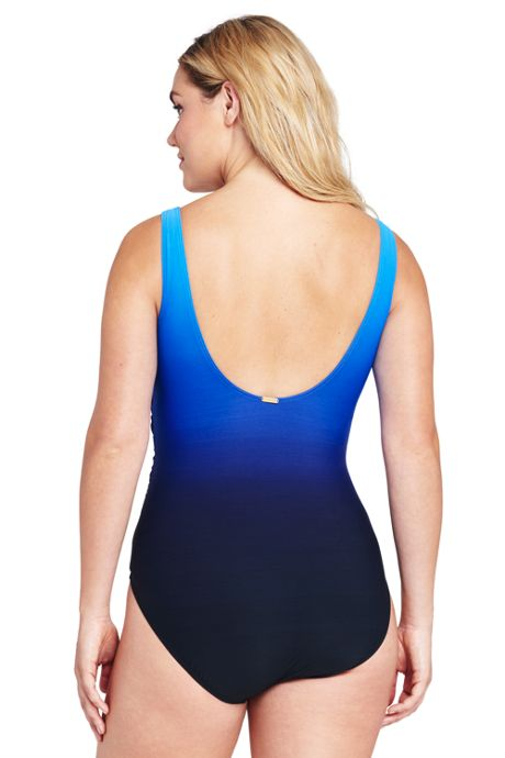 Women's Plus Size Slender Wrap One Piece Swimsuit with Tummy Control