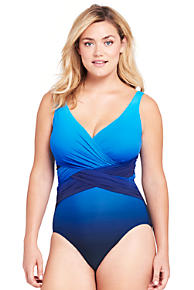 Womens Plus V-neck Slender Swimsuit - 22 - BLUE Lands End Low Price For Sale Cheap For Nice Cheap Sale Many Kinds Of Hh6xK
