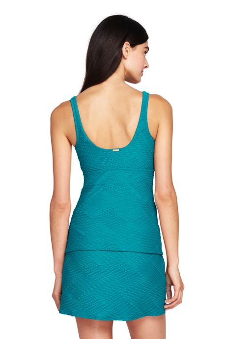 Women's Texture Square Neck Tankini Top