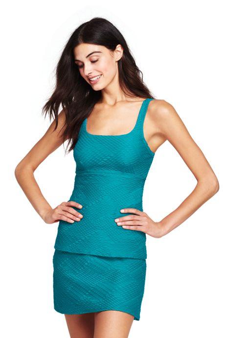Women's Texture Squareneck Tankini Top