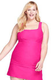 Women's Plus Size Texture Square Neck Tankini Top