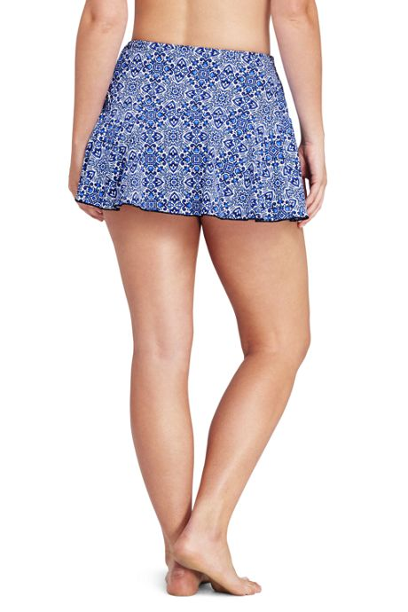 Women's Plus Size Flounce Mini SwimMini Skirt with Tummy Control