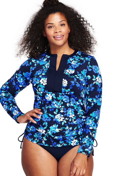 Women's Plus Size Adjustable Swim Tunic Rash Guard