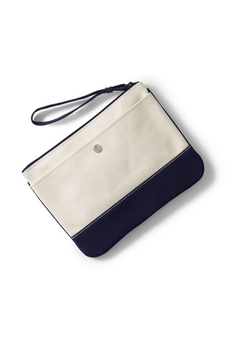 Medium Solid Canvas Zipper Pouch