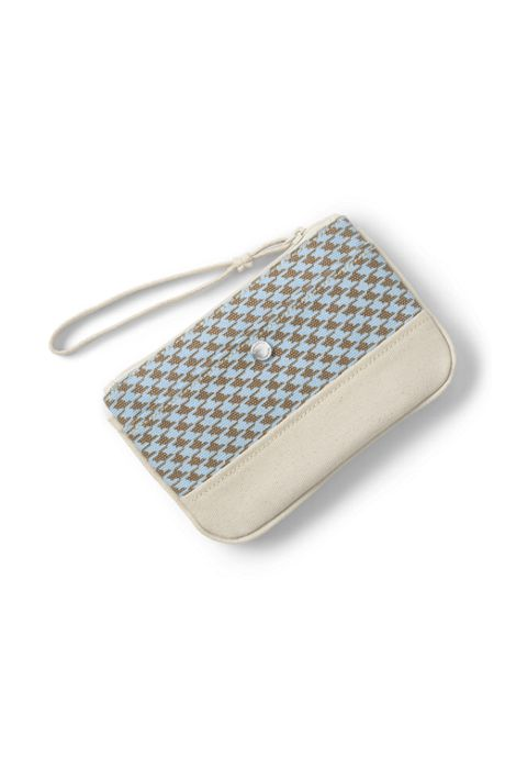 Small Print Canvas Zipper Pouch