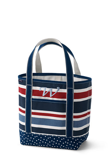 All-over Printed Medium Zip Top Tote Bag - BLUE Lands End 8ERo5Q7m