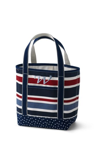 All-over Printed Medium Zip Top Tote Bag - BLUE Lands End