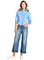 Le Jean Court Large Stretch Taille Mi-Haute, Femme Stature Standard