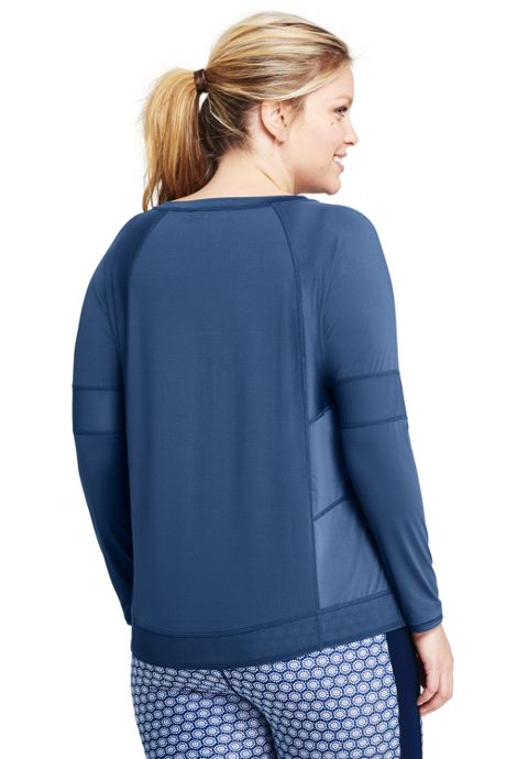 Women's Plus Size Active Mesh Blocked Long Sleeve T-shirt