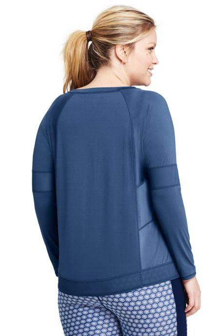 Women's Plus Size Active Mesh Blocked Long Sleeve T-shirt