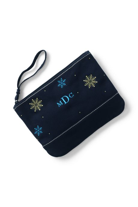 Medium Embroidered Canvas Zipper Pouch