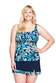 Women's Plus Size Pleated Scoopneck Tankini Top with Tummy Control