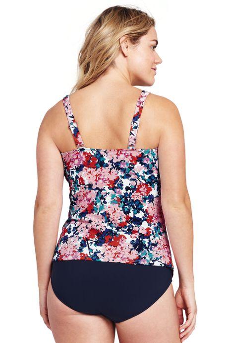 Women's Plus Size Pleated Scoopneck Tankini Top