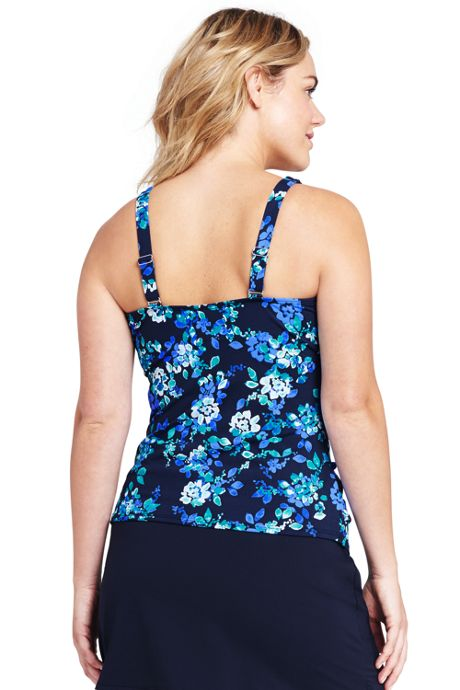 Women's Plus Size Pleated Scoopneck Tankini Top