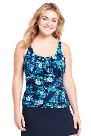 Women's Plus Size DDD-Cup Pleated Scoopneck Tankini Top