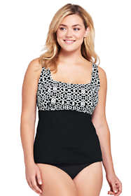 Women's Plus Size DD-Cup Underwire Square Neck Tankini Top