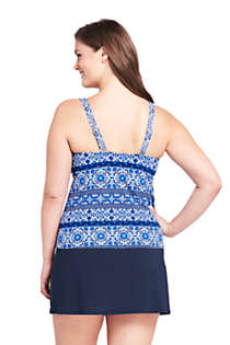 Women's Plus Size Underwire Square Neck Tankini Top, Back