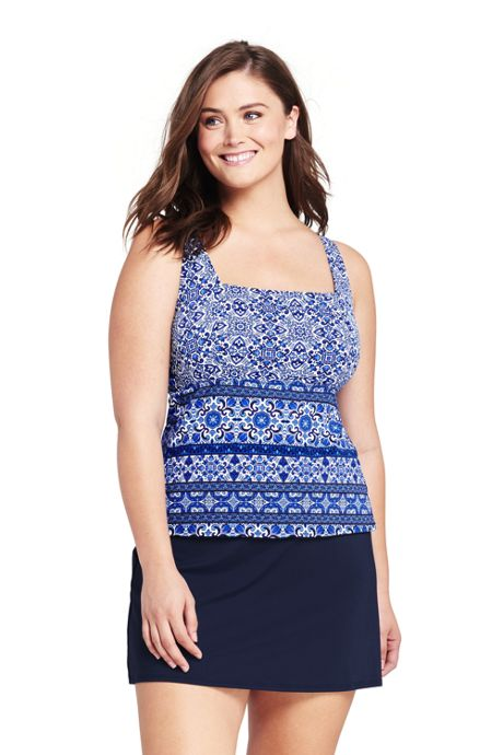 Women's Plus Size Underwire Square Neck Tankini Top