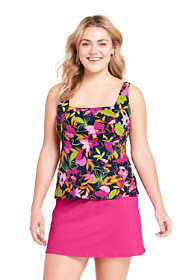 Women's Plus Size Underwire Squareneck Tankini Top with Tummy Control