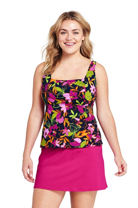 Women's Plus Size Underwire Squareneck Tankini Top