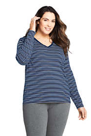 Women's Plus Size Petite Relaxed Supima Cotton Long Sleeve V-neck T-Shirt Stripe