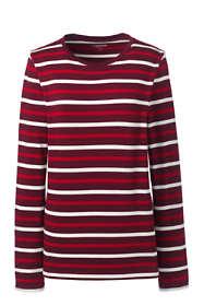 Women's Petite Supima Cotton Long Sleeve T-shirt - Relaxed Crewneck Stripe