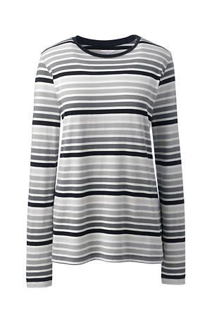 347e3136e63 Women's Supima Striped Crewneck T-shirt | Lands' End