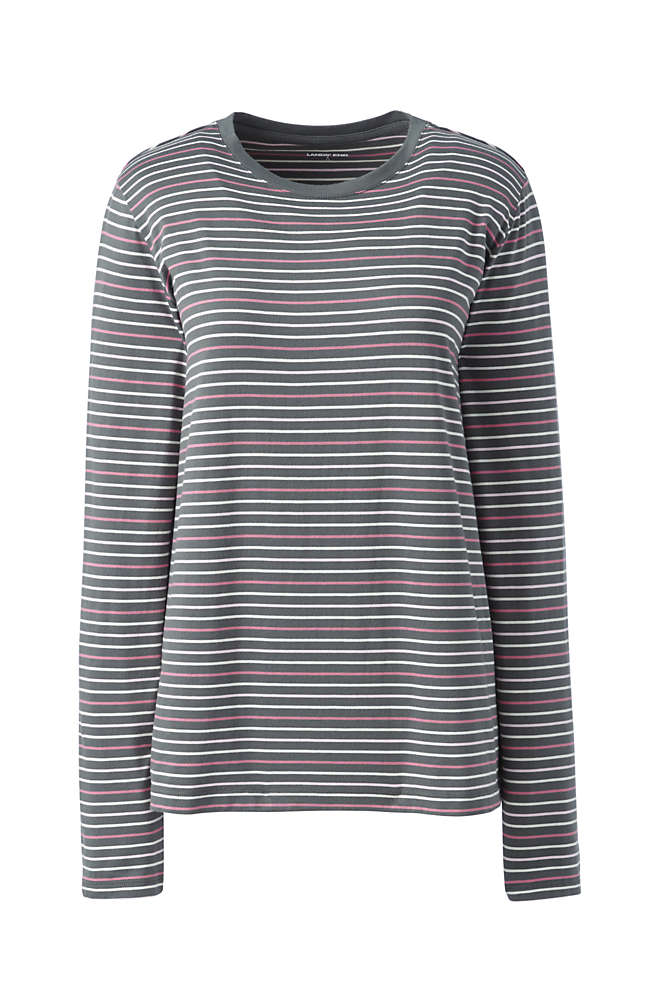 Women's Relaxed Supima Cotton Long Sleeve Crewneck T-Shirt Stripe, Front