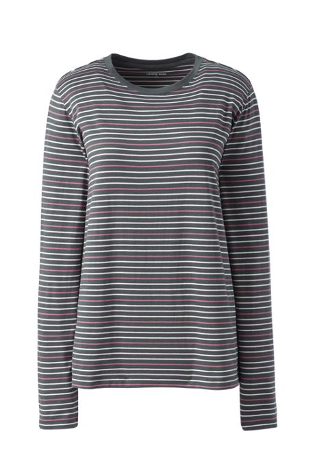 Women's Tall Relaxed Supima Cotton Long Sleeve Crewneck T-Shirt Stripe