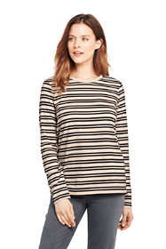 Women's Petite Relaxed Supima Cotton Long Sleeve Crewneck T-Shirt Stripe