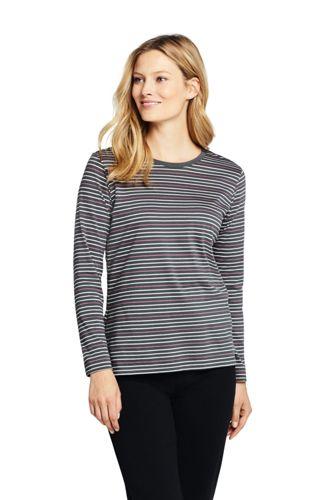 Le T-Shirt Supima Rayé Ras-de-cou Manches Longues, Femme Stature Haute