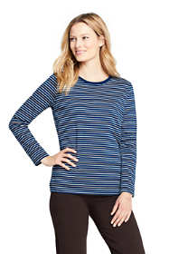 Women's Supima Cotton Long Sleeve T-shirt - Relaxed Crewneck Stripe