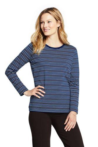 Women's Petite Relaxed Supima Cotton Long Sleeve Crewneck T-Shirt Stripe