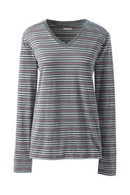 Women's Relaxed Supima Cotton Long Sleeve V-neck T-Shirt Stripe