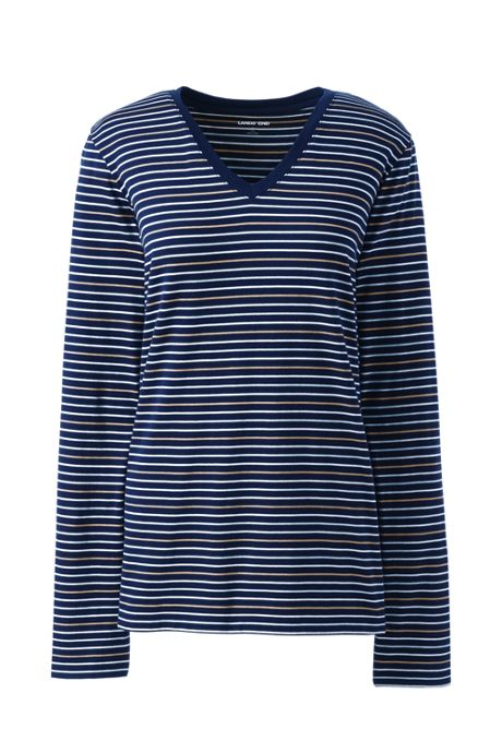 Women's Plus Size Relaxed Supima Cotton Long Sleeve V-neck T-Shirt Stripe