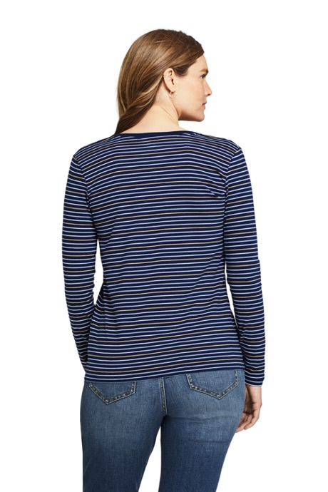 Women's Tall Relaxed Supima Cotton Long Sleeve V-neck T-Shirt Stripe