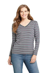 Women's Petite Relaxed Supima Cotton Long Sleeve V-neck T-Shirt Stripe