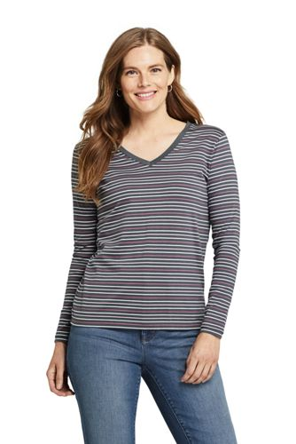 Gestreiftes Supima-Shirt mit V-Ausschnitt für Damen in Petite-Größe