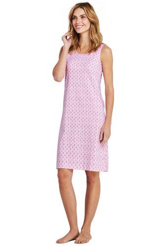 La Chemise de Nuit Imprimée Sans Manches en Coton Supima, Femme Stature Standard