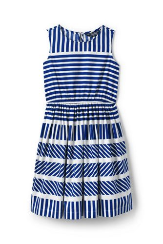 Little Girls' Sleeveless Dress with Engineered Stripes