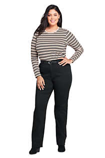 Women's Plus Size Relaxed Supima Cotton Long Sleeve Crewneck T-Shirt Stripe, Unknown