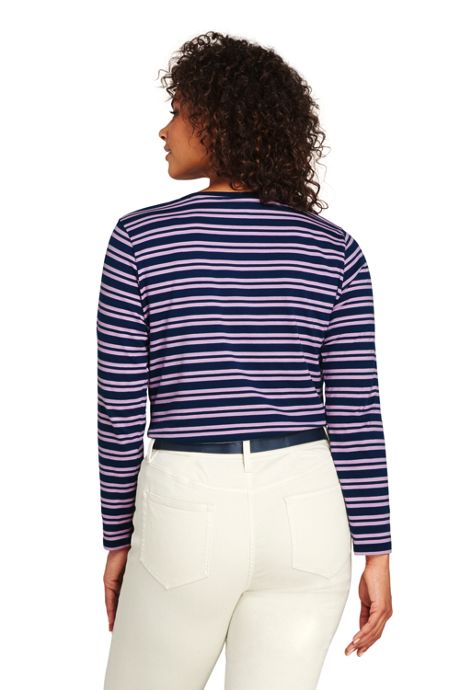 Women's Plus Size Supima Cotton Long Sleeve T-shirt - Relaxed Crewneck Stripe