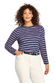 Women's Plus Size Petite Supima Cotton Long Sleeve T-shirt - Relaxed Crewneck Stripe