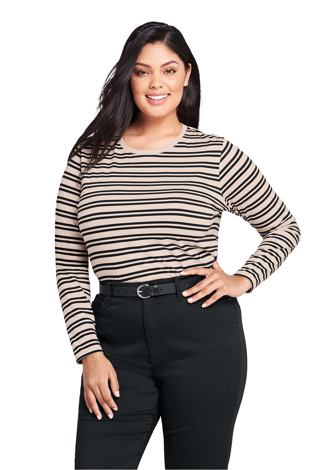 cf598be21384 Women's Plus Size Supima Cotton Long Sleeve T-shirt - Relaxed Crewneck  Stripe