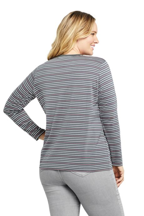 Women's Plus Size Relaxed Supima Cotton Long Sleeve Crewneck T-Shirt Stripe