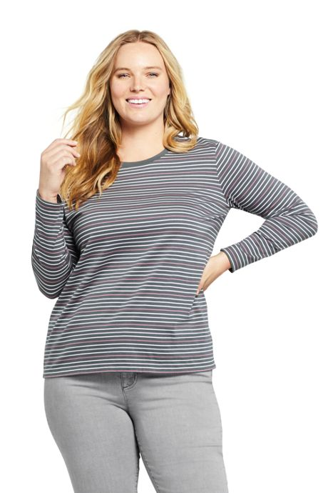 Women's Plus Size Petite Relaxed Supima Cotton Long Sleeve Crewneck T-Shirt Stripe